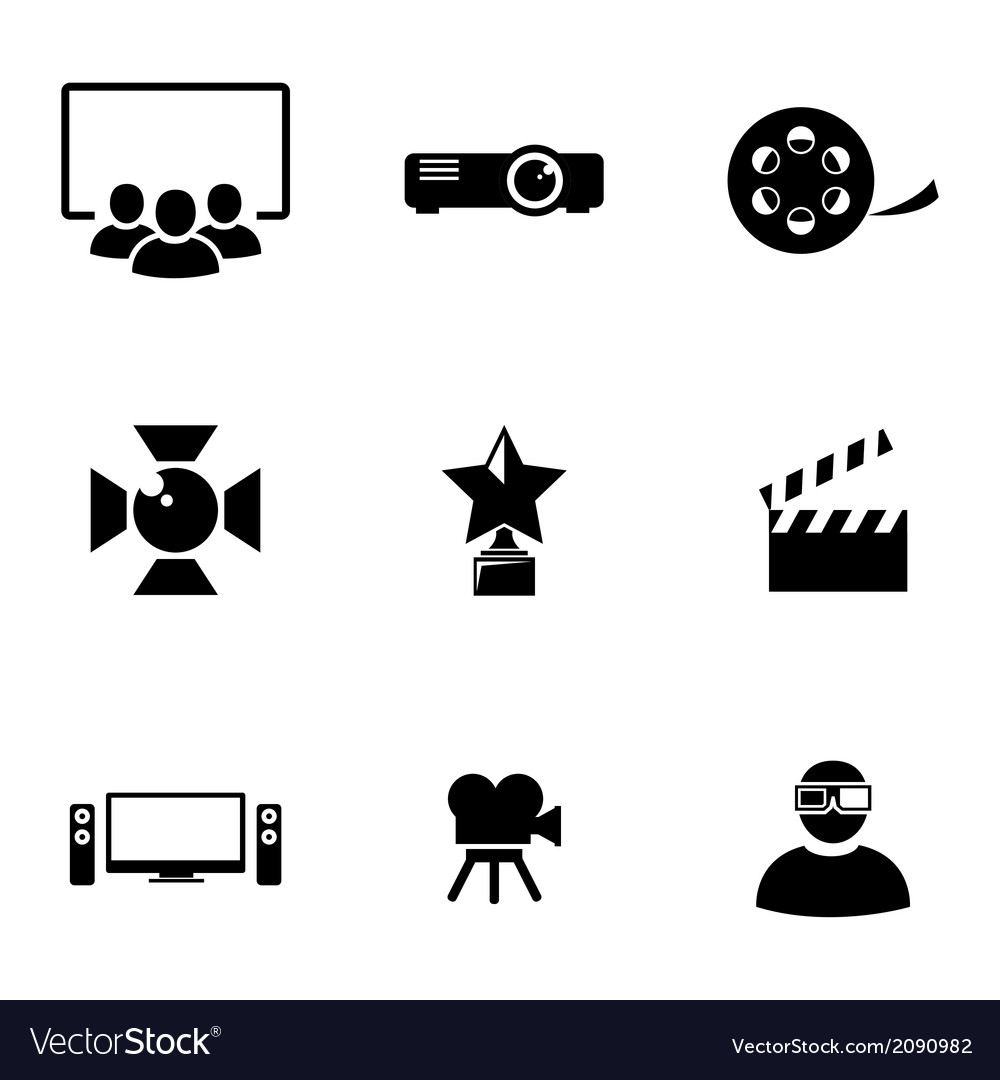 Black movie icons set vector | Price: 1 Credit (USD $1)