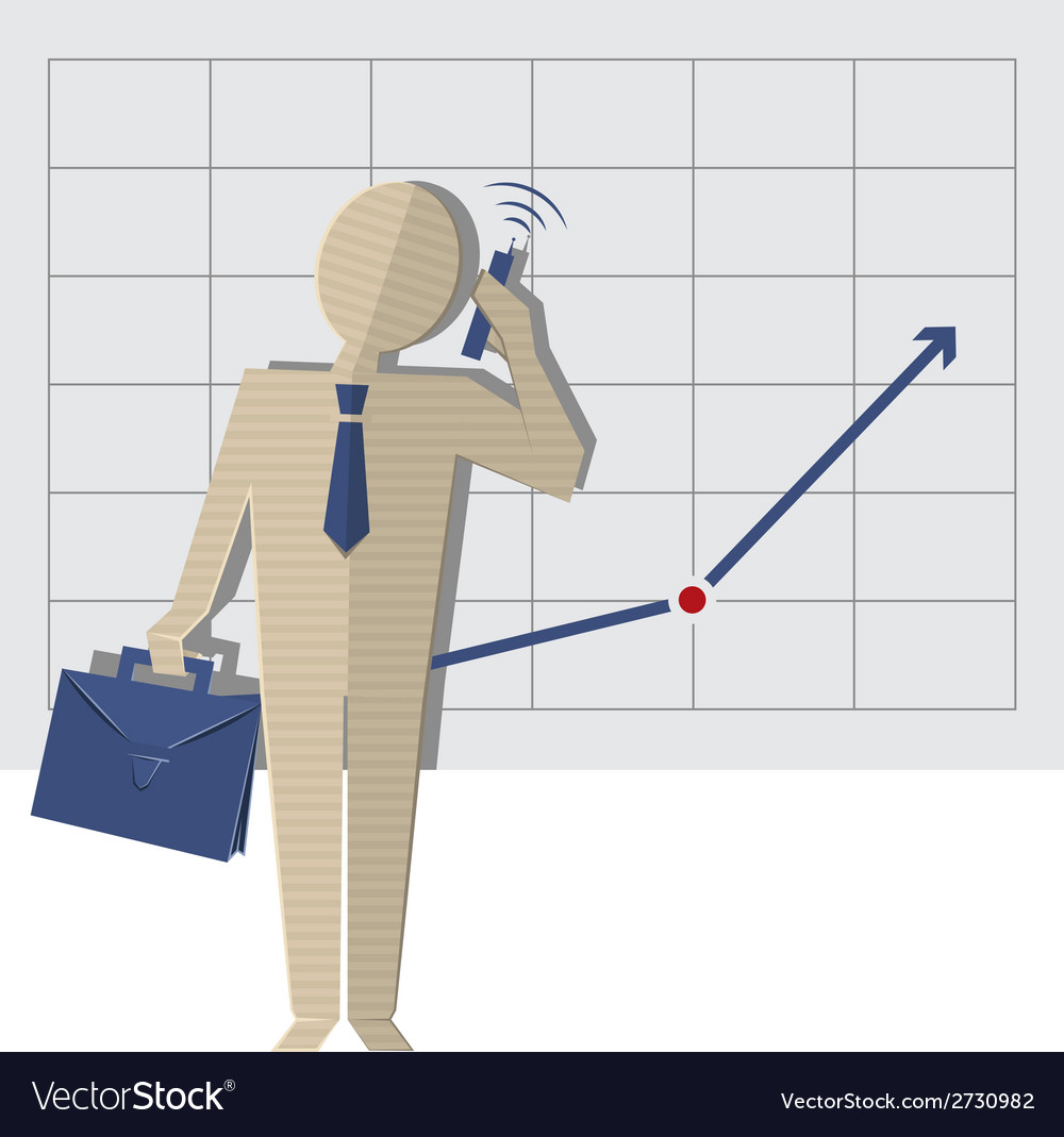 Businessman talking on the phone against a rising vector | Price: 1 Credit (USD $1)