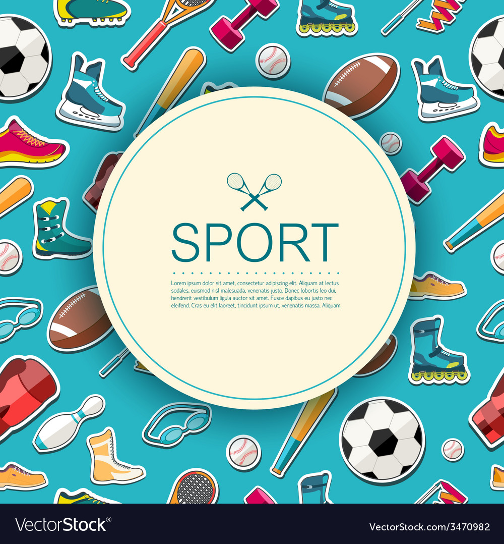 Circular concept of sports equipment sticker vector | Price: 1 Credit (USD $1)