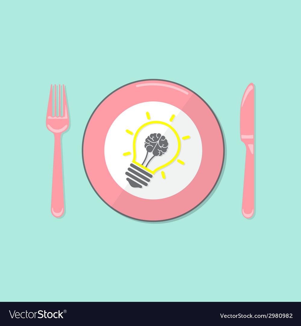 Creative light bulb idea and brain concept backgro vector | Price: 1 Credit (USD $1)