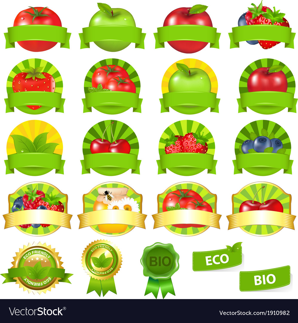 Fruits and vegetables labels set vector | Price: 1 Credit (USD $1)