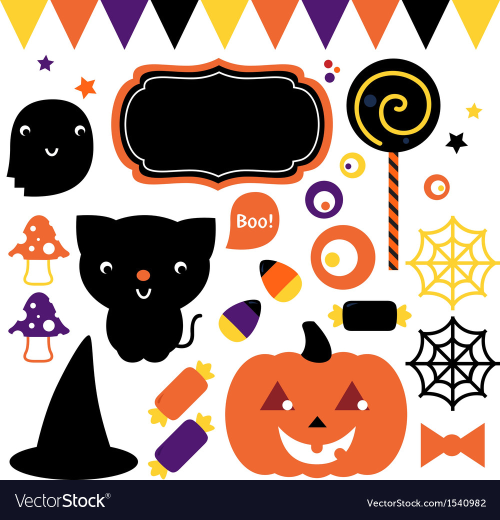 Halloween party set isolated on white vector | Price: 1 Credit (USD $1)