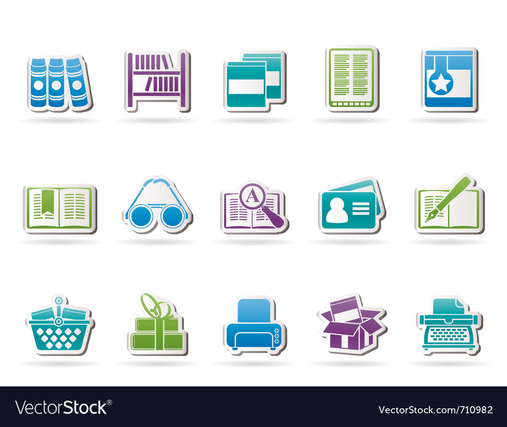 Library and books icons vector | Price: 1 Credit (USD $1)