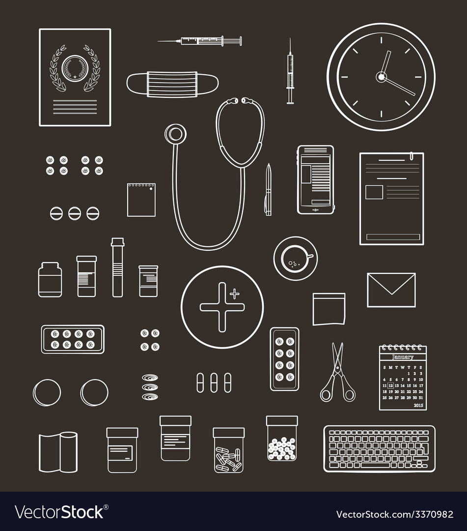 Outlined one color medical symbols and icons vector | Price: 1 Credit (USD $1)