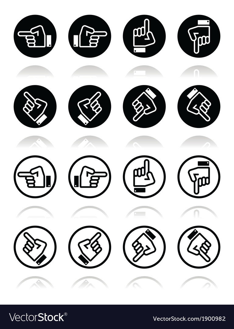 Pointing hand - up down across round icon vector | Price: 1 Credit (USD $1)