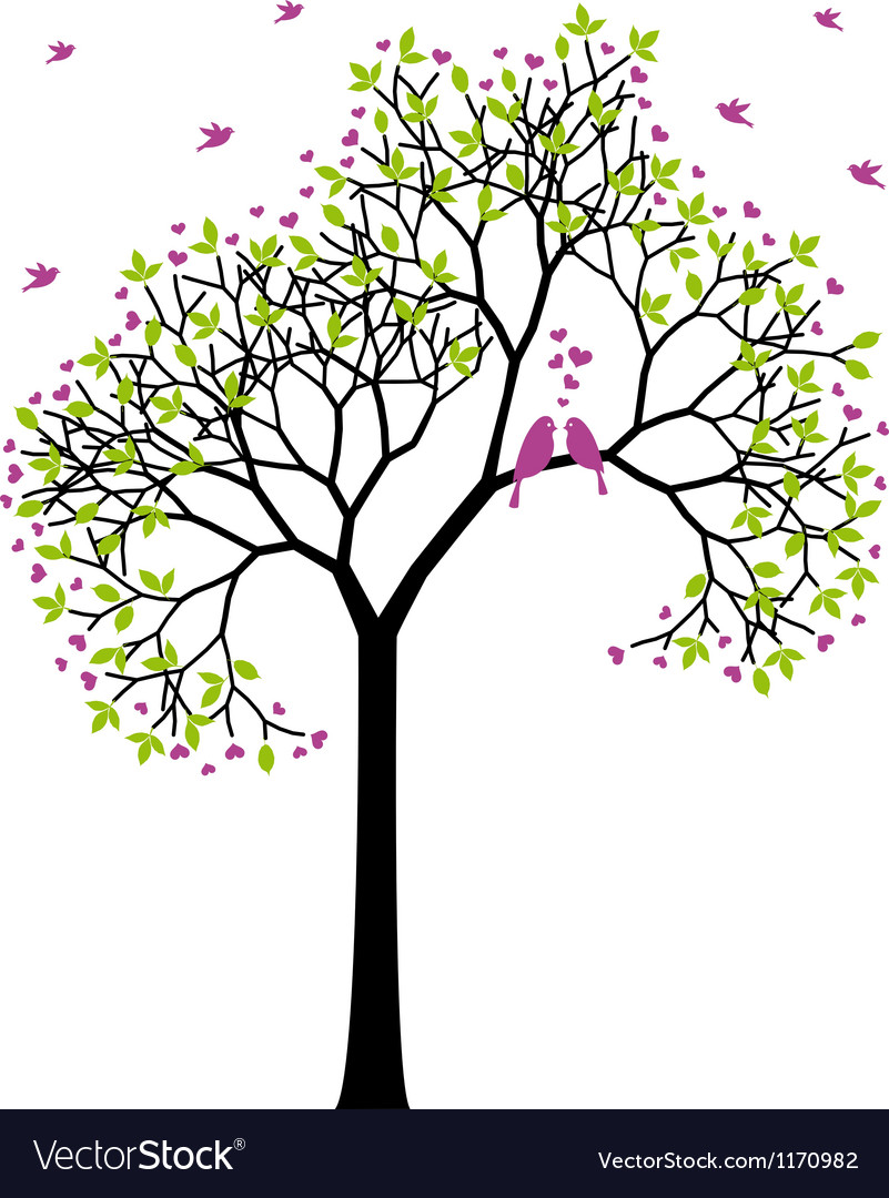 Spring tree with love birds vector | Price: 1 Credit (USD $1)