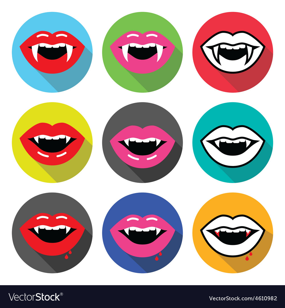 Vampire mouth vampire teeth flat design icons vector | Price: 1 Credit (USD $1)
