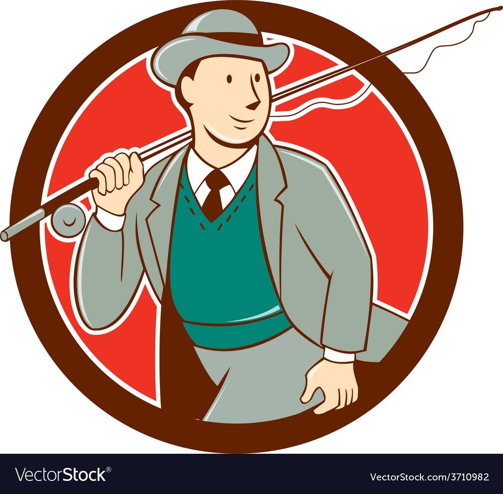 Vintage fly fisherman bowler hat cartoon vector | Price: 1 Credit (USD $1)