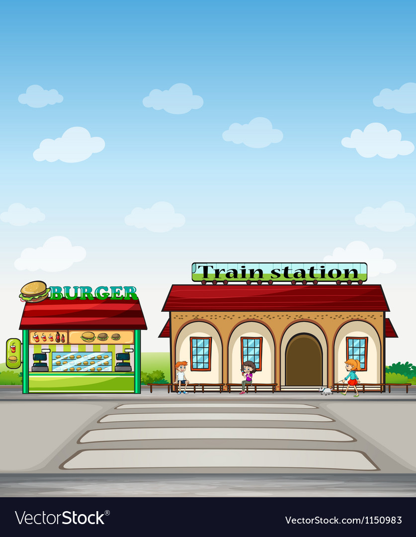 A burger junction and a train station vector | Price: 1 Credit (USD $1)