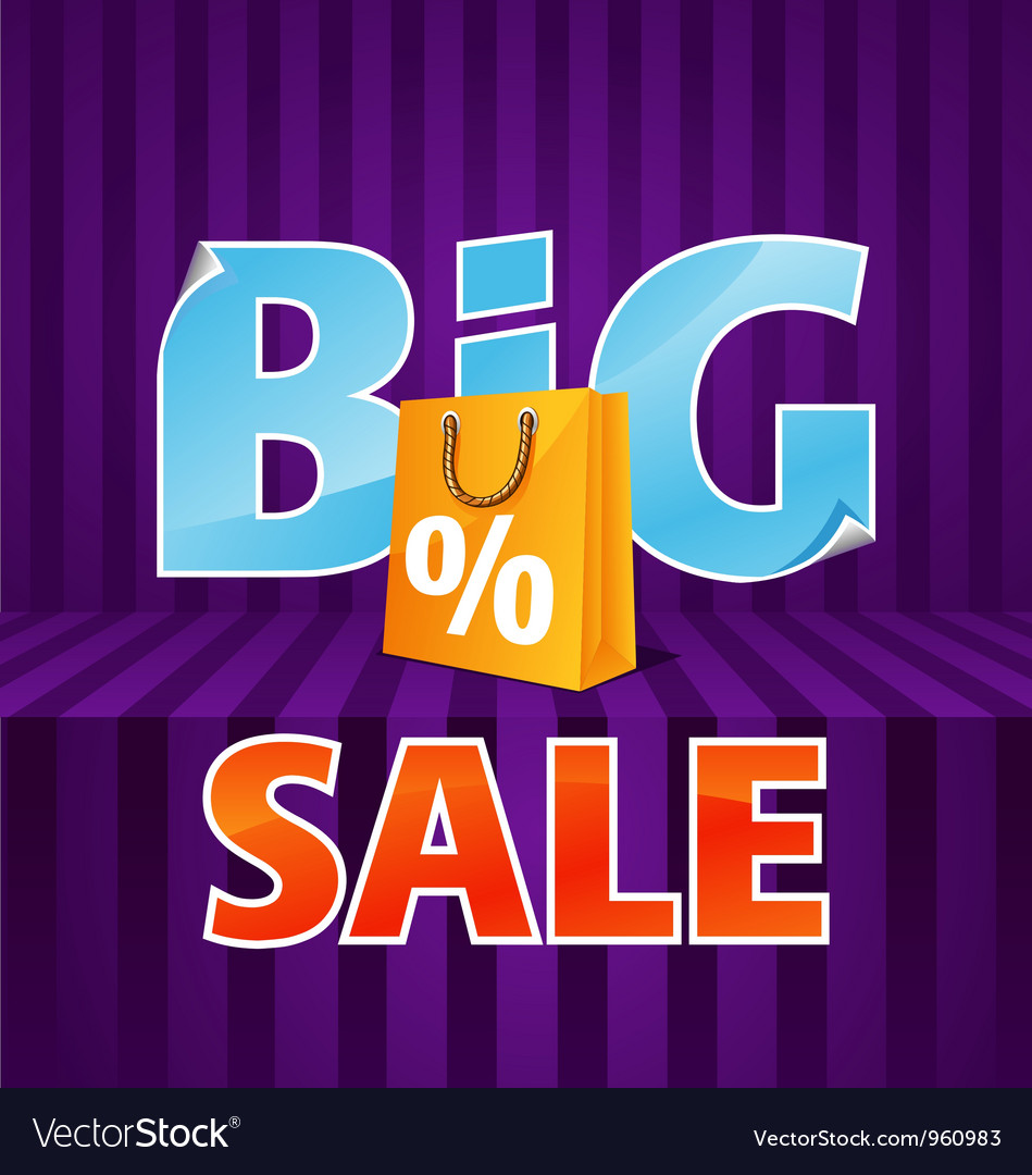 Big sale poster with paper bag vector | Price: 1 Credit (USD $1)
