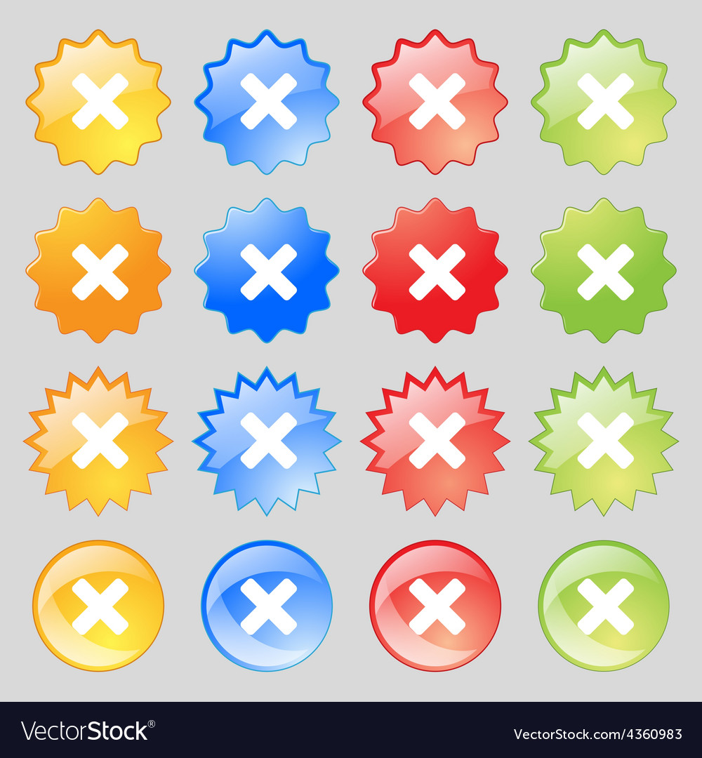 Cancel multiplication icon sign big set of 16 vector | Price: 1 Credit (USD $1)
