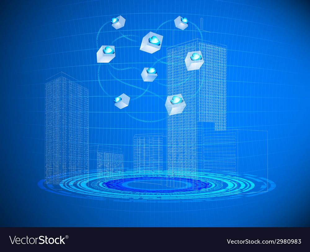 Cloud in cities vector | Price: 1 Credit (USD $1)