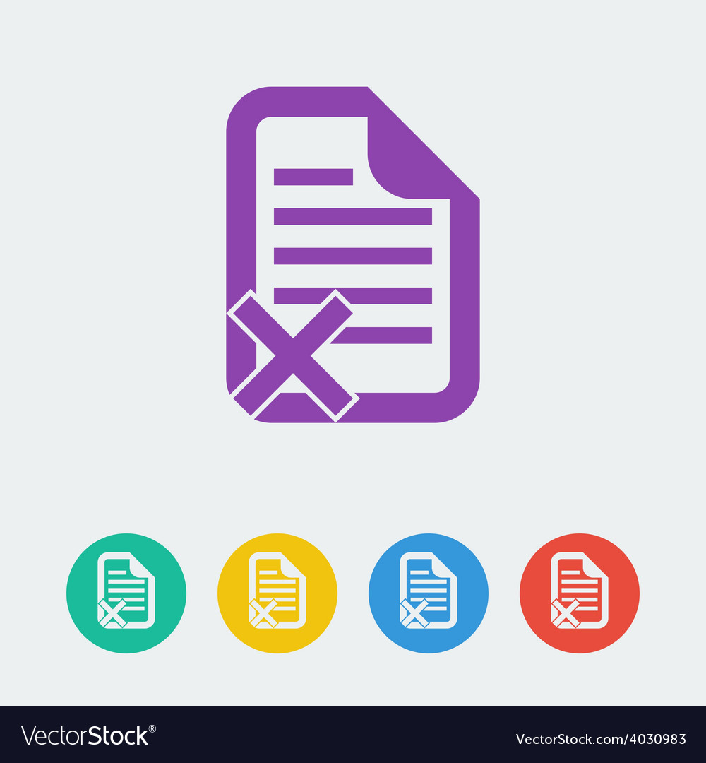 Document reject flat circle icon vector | Price: 1 Credit (USD $1)