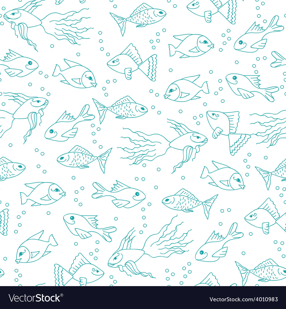Fish in water seamless pattern vector | Price: 1 Credit (USD $1)