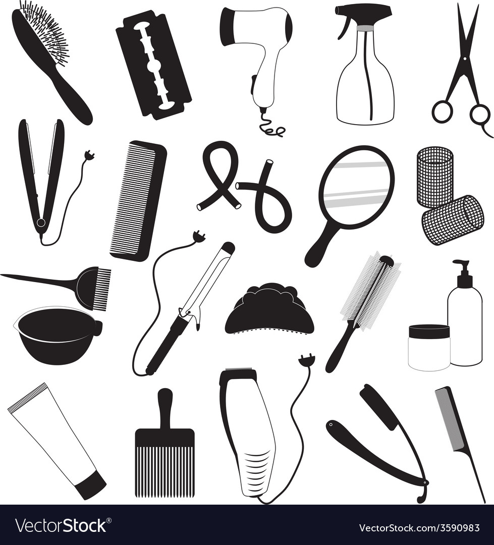 Hairdressing and barber shop icons set vector | Price: 1 Credit (USD $1)
