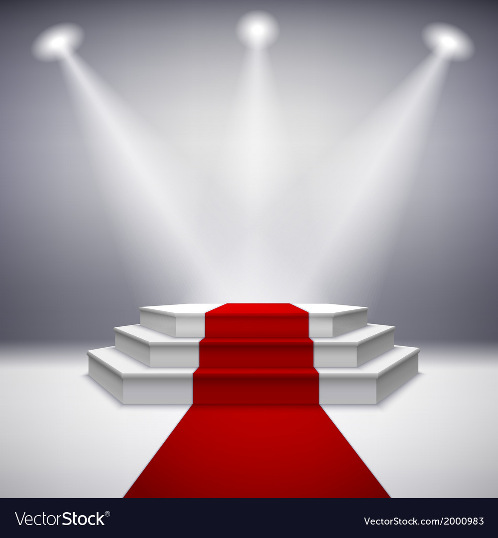 Illuminated stage podium with red carpet vector | Price: 1 Credit (USD $1)