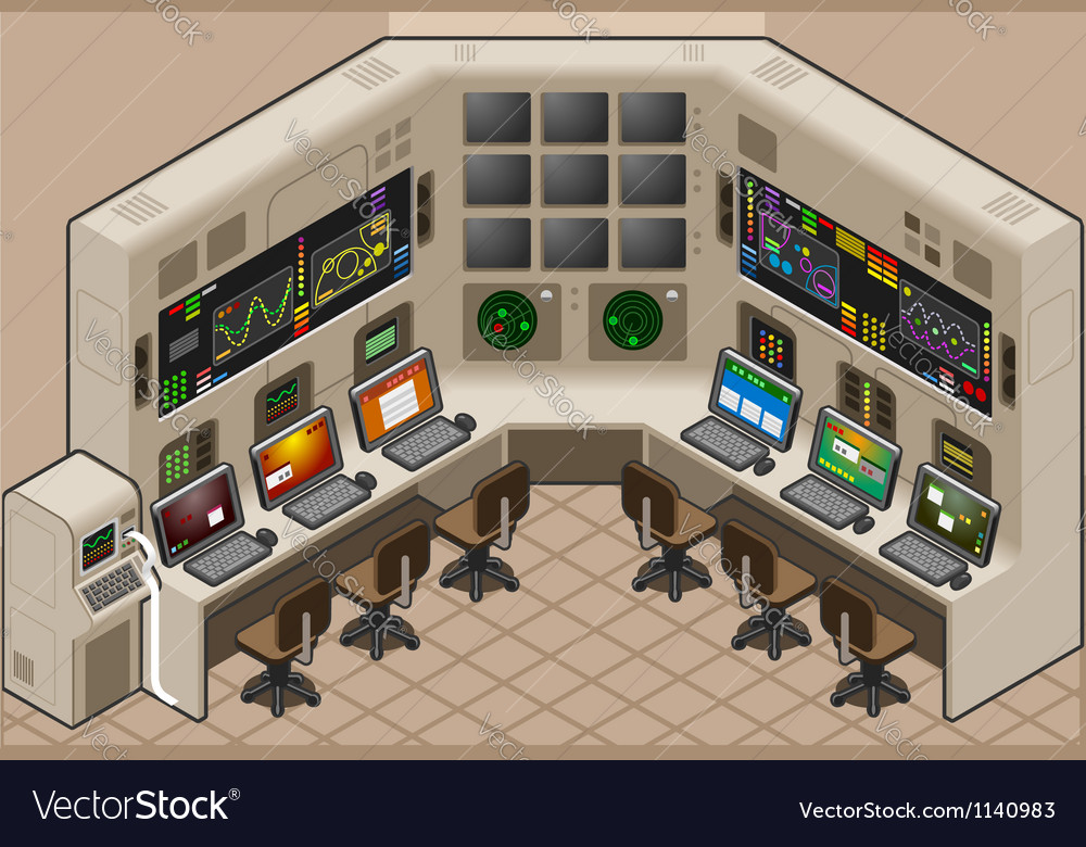 Isometric control center with mega screen vector   Price: 3 Credit (USD $3)