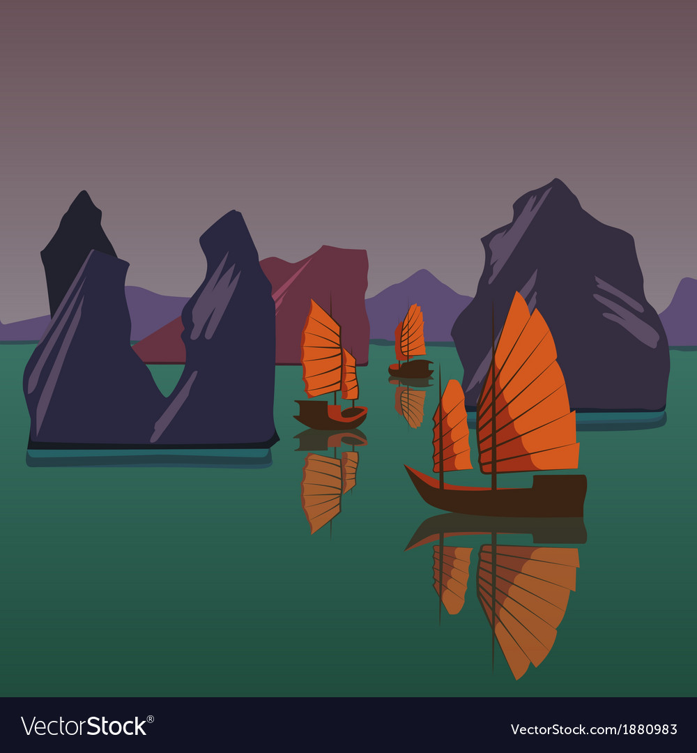 Junks floating on the andaman sea vector | Price: 3 Credit (USD $3)