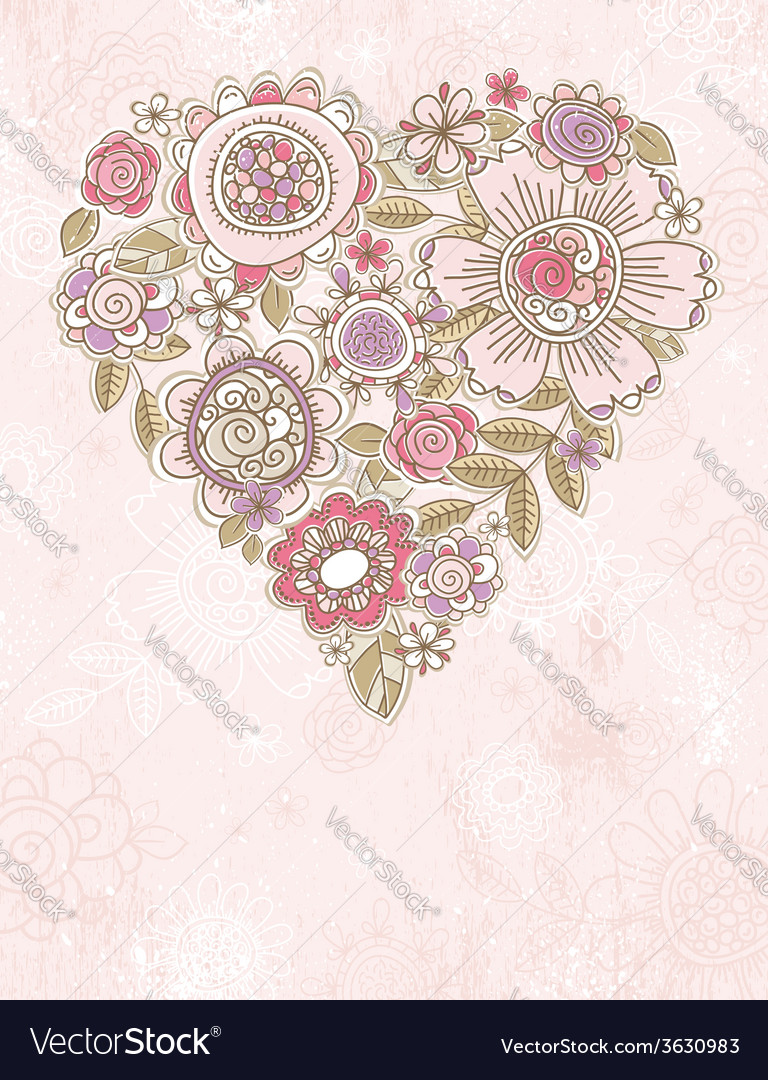 Pink background with valentine heart vector | Price: 1 Credit (USD $1)