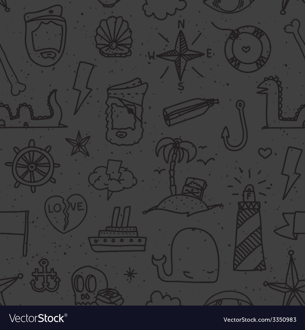Pirate tattoo seamless pattern vector | Price: 1 Credit (USD $1)