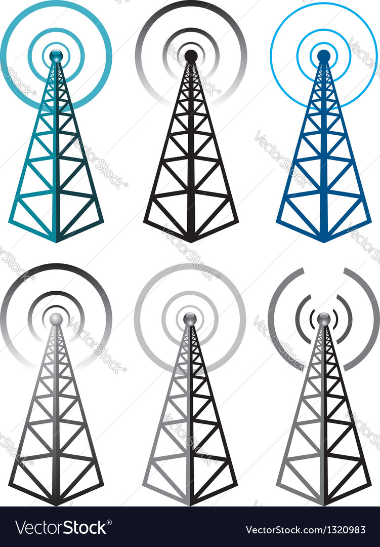 Radio tower symbols vector | Price: 1 Credit (USD $1)