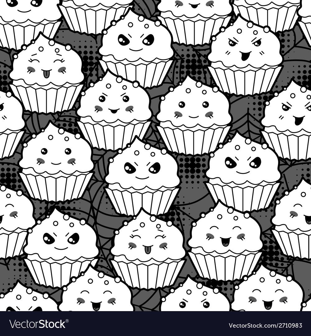 Seamless halloween kawaii cartoon pattern with vector | Price: 1 Credit (USD $1)
