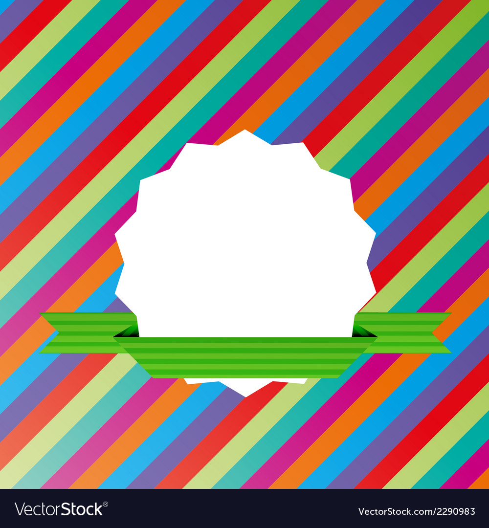 Striped background with blank label vector | Price: 1 Credit (USD $1)
