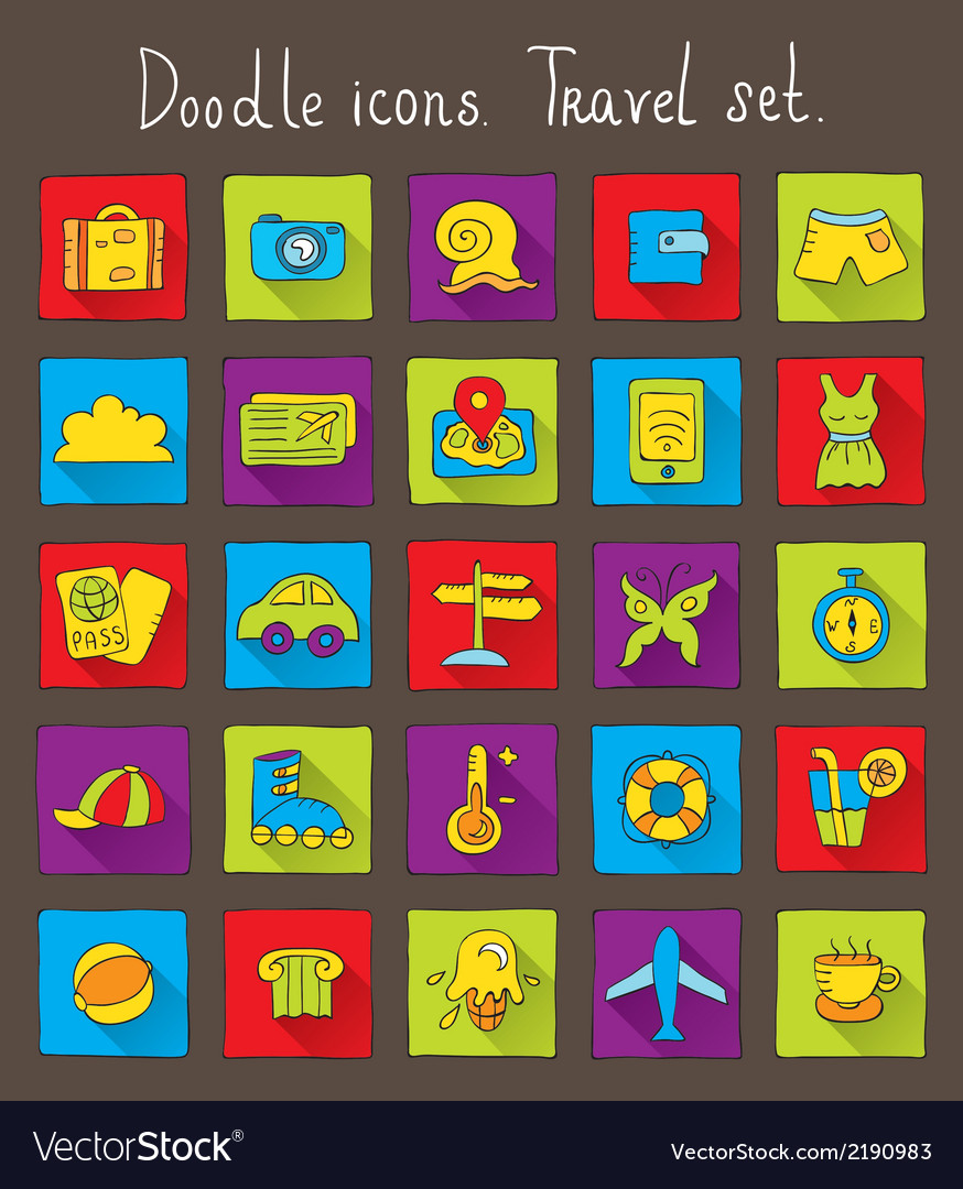 Travel doodle icons vector | Price: 1 Credit (USD $1)