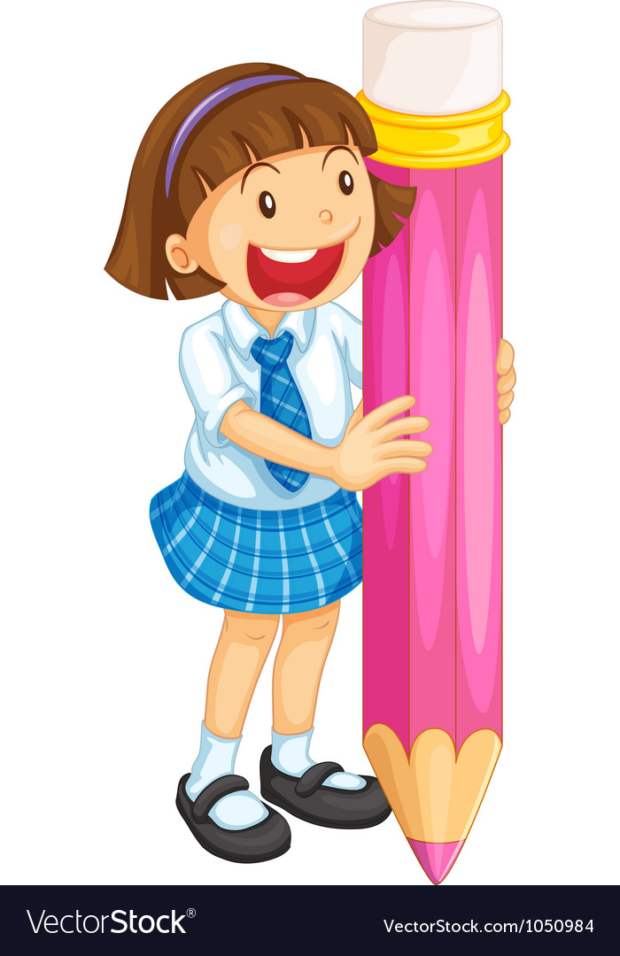 A girl holding pencil vector | Price: 1 Credit (USD $1)