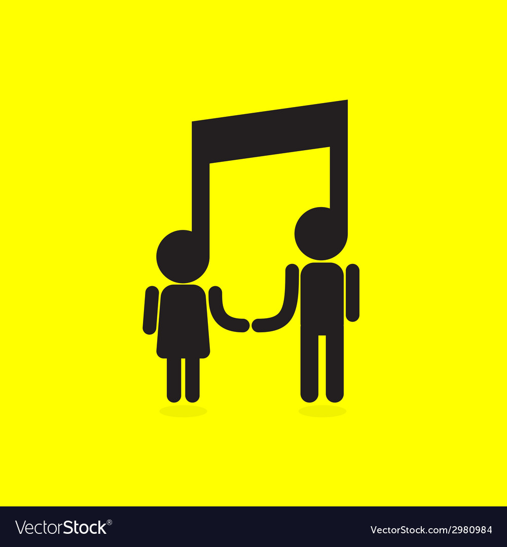 Creative music note sign icon and people sign vector | Price: 1 Credit (USD $1)