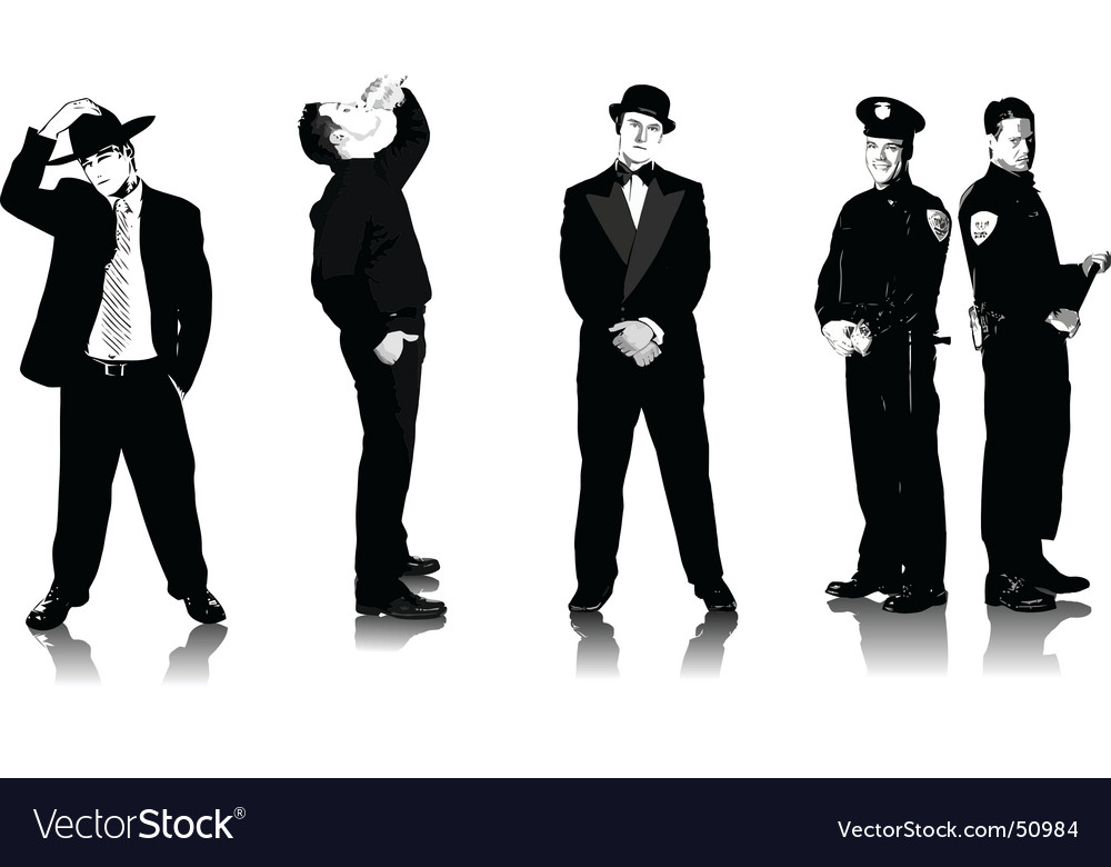 Five men vector | Price: 1 Credit (USD $1)