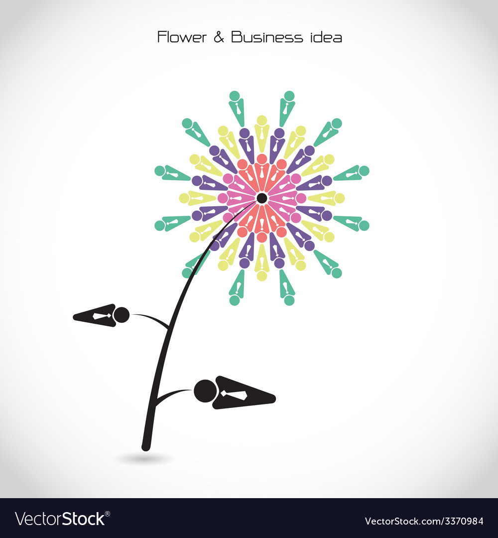 Flower and business teamwork cooperation sign vector | Price: 1 Credit (USD $1)