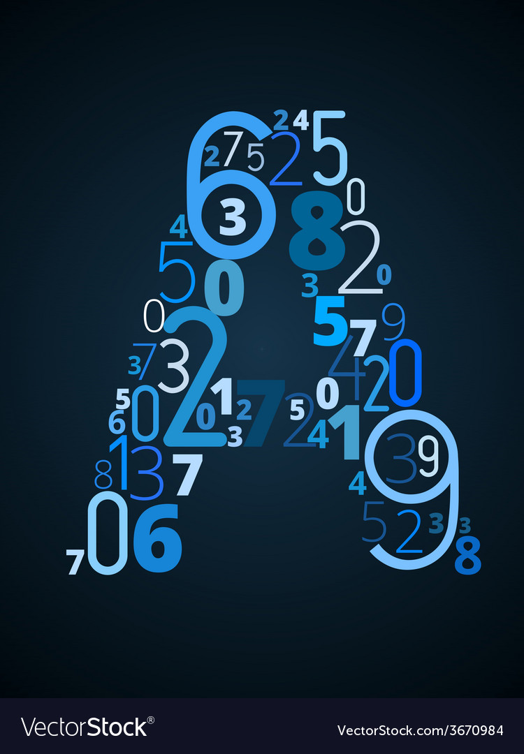 Letter a font from numbers vector | Price: 1 Credit (USD $1)