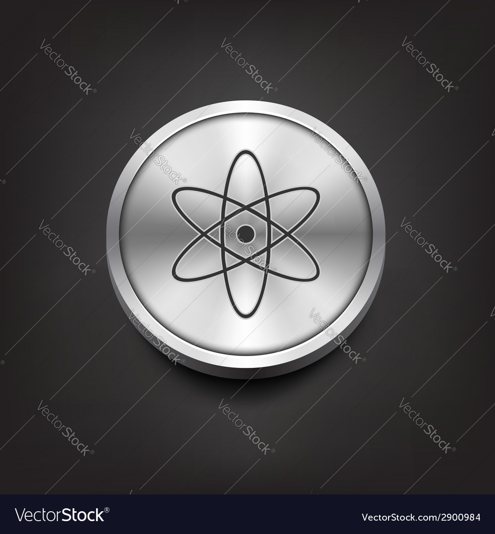 Molecule icon on silver button vector | Price: 1 Credit (USD $1)