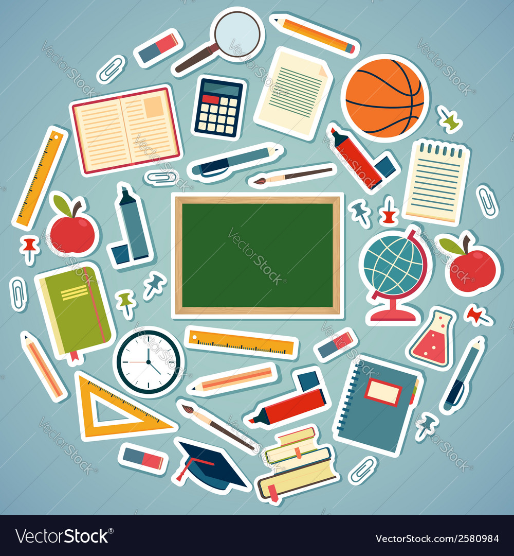 School tools and supplies on a blue background vector | Price: 1 Credit (USD $1)
