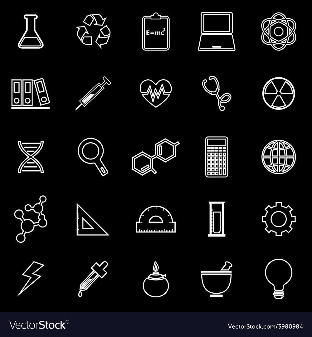 Science line icons on black background vector | Price: 1 Credit (USD $1)