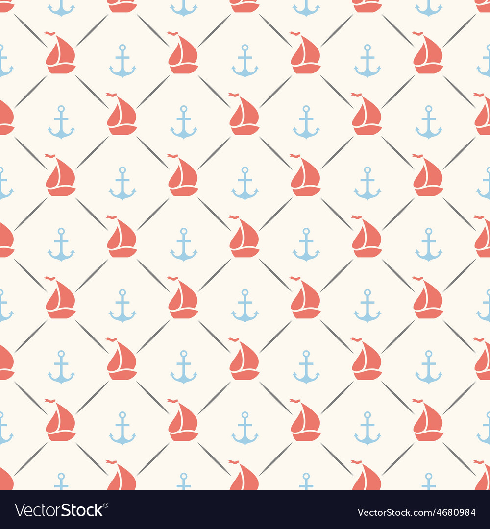 Seamless pattern of anchor sailboat shape vector | Price: 1 Credit (USD $1)