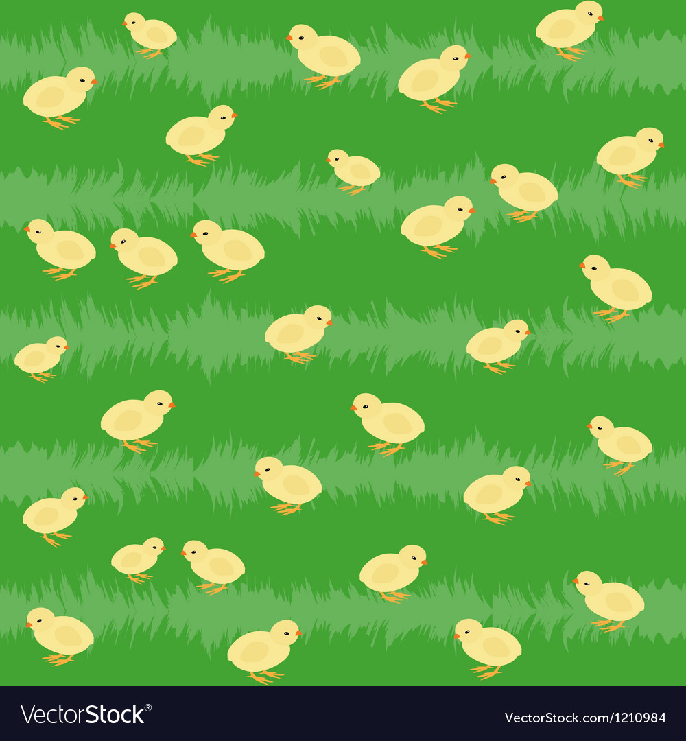 Seamless pattern with chickens on the grass vector | Price: 1 Credit (USD $1)