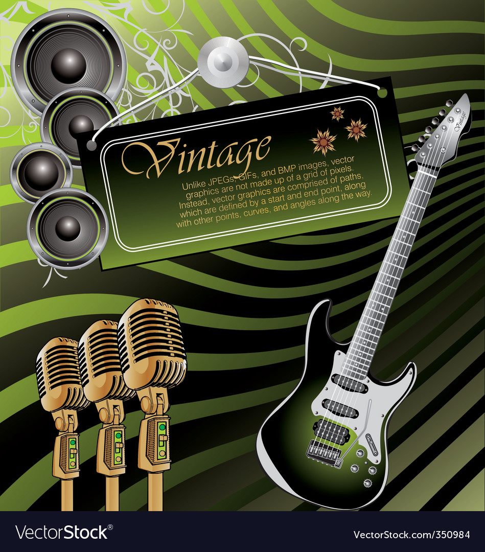 Vintage rock music background vector | Price: 1 Credit (USD $1)