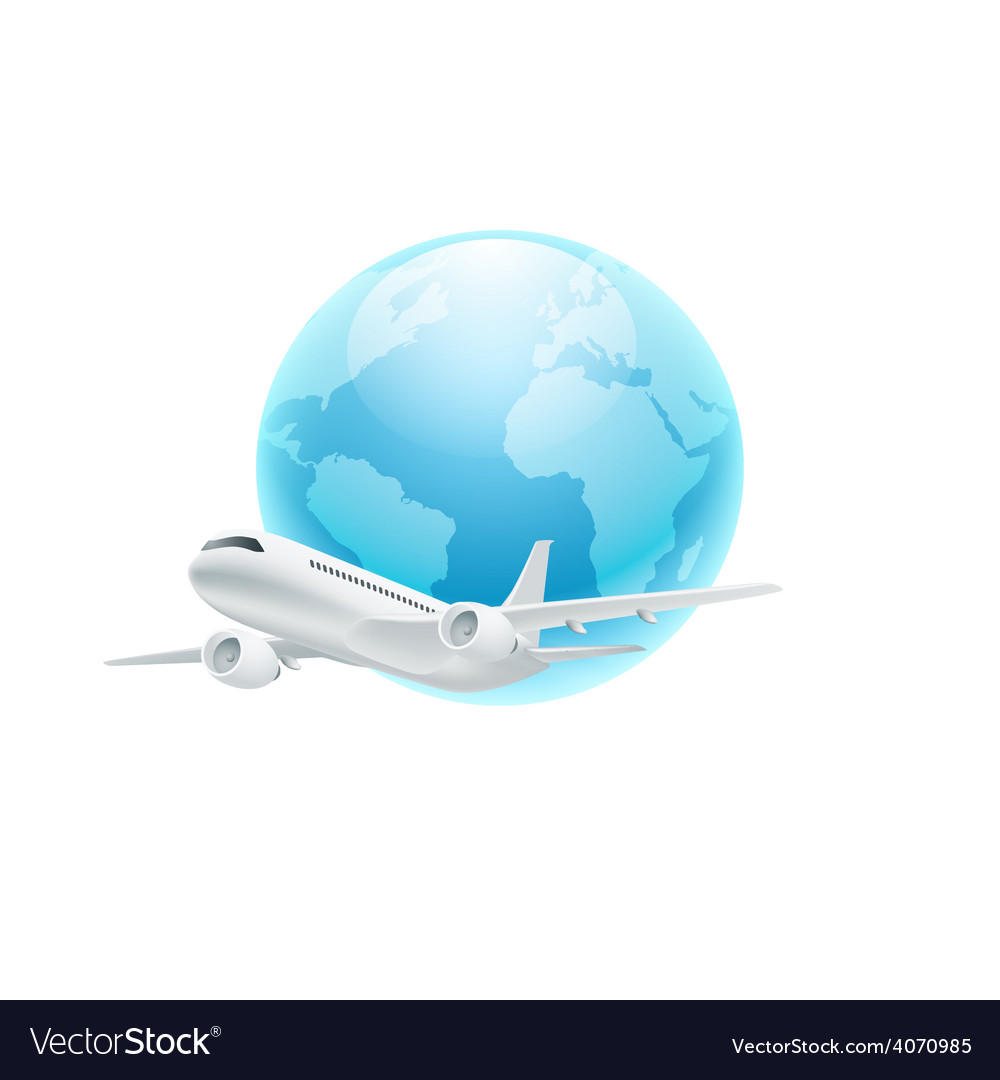 Airplane with the globe isolated on white backgrou vector | Price: 1 Credit (USD $1)