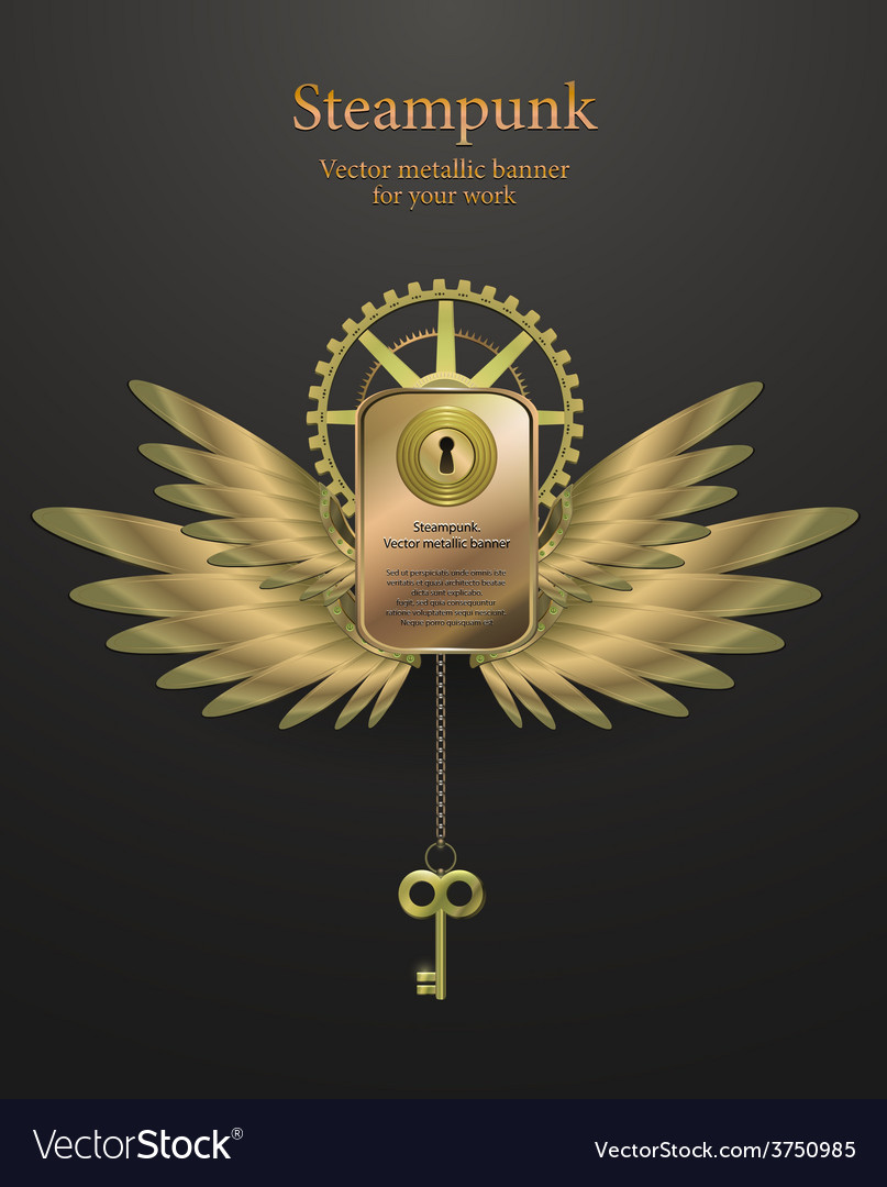 Banner with gears steampunk logo vector | Price: 3 Credit (USD $3)