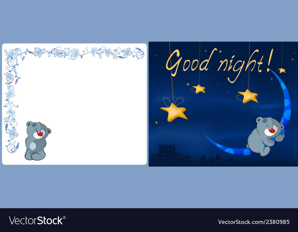 Bear cub and the moon postcard vector | Price: 1 Credit (USD $1)