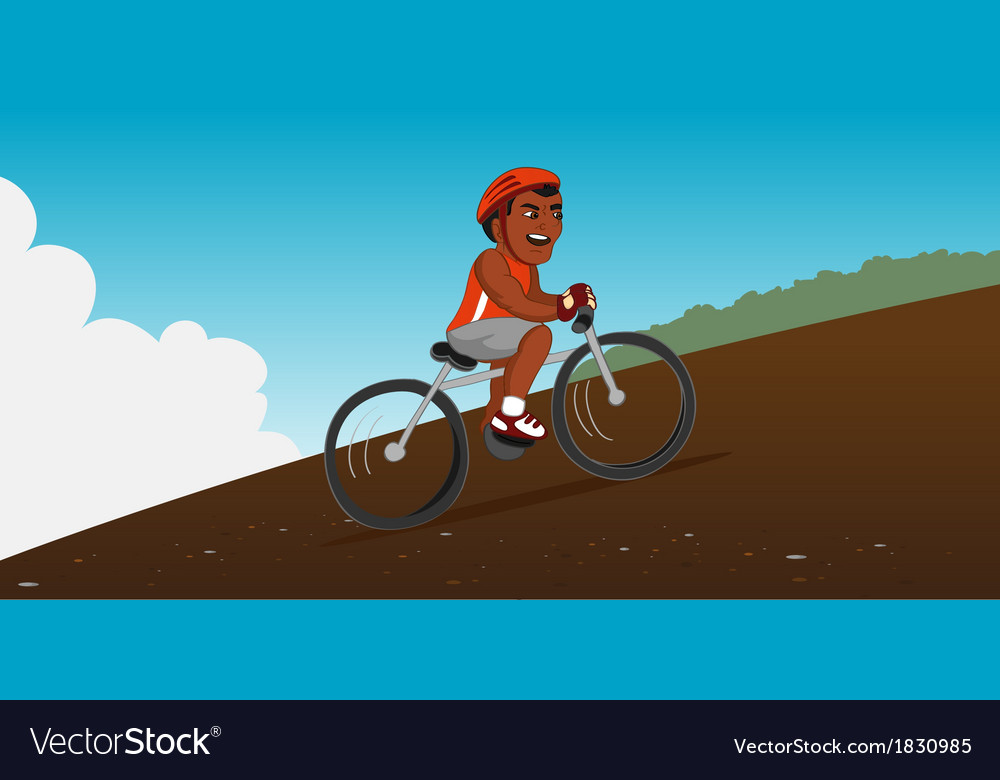 Black bicyclist riding vector | Price: 1 Credit (USD $1)