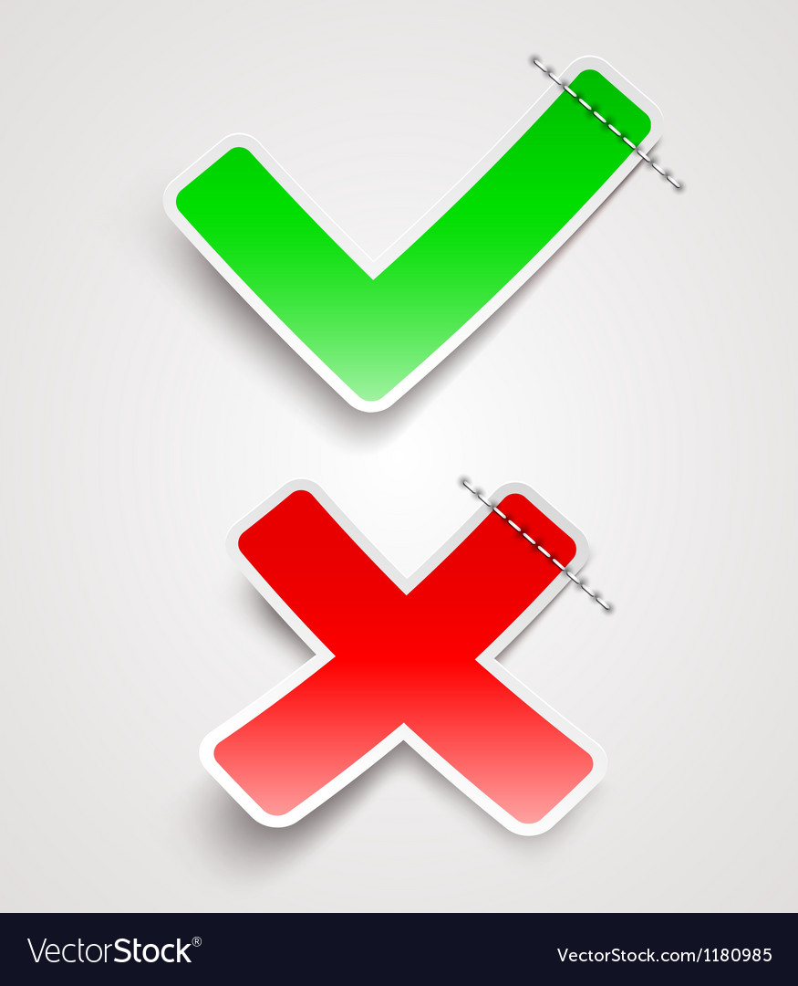 Check mark and cross paper signs vector   Price: 1 Credit (USD $1)