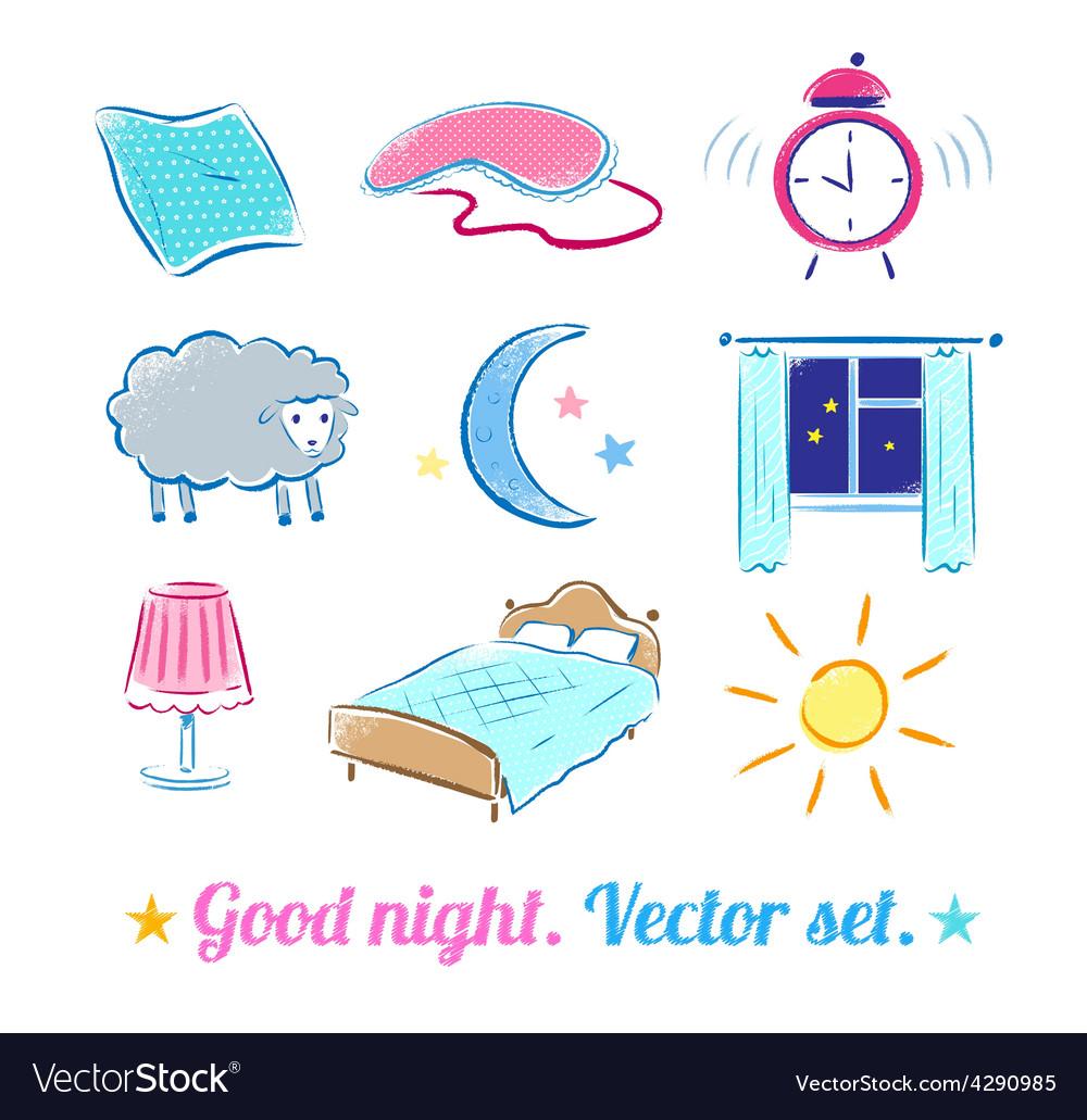 Good night set vector | Price: 1 Credit (USD $1)