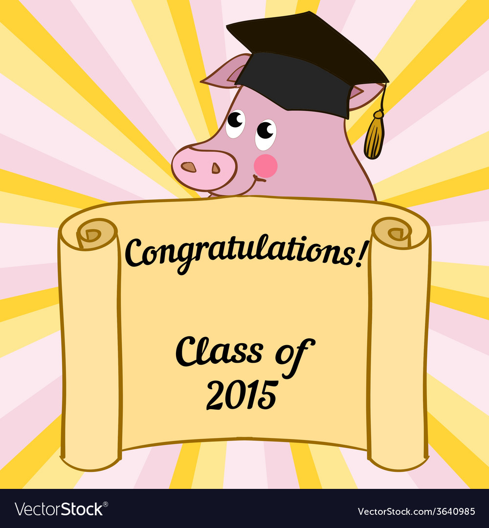 Greeting card with a character pig vector | Price: 1 Credit (USD $1)