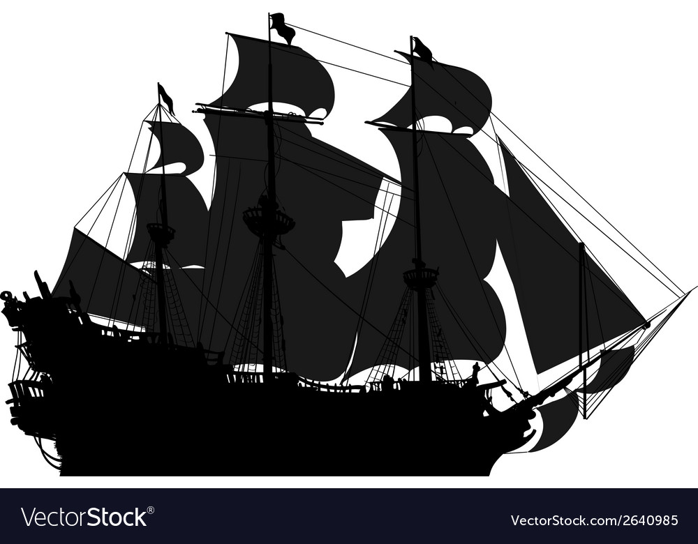 Marine theme silhouette sailboat vector | Price: 1 Credit (USD $1)
