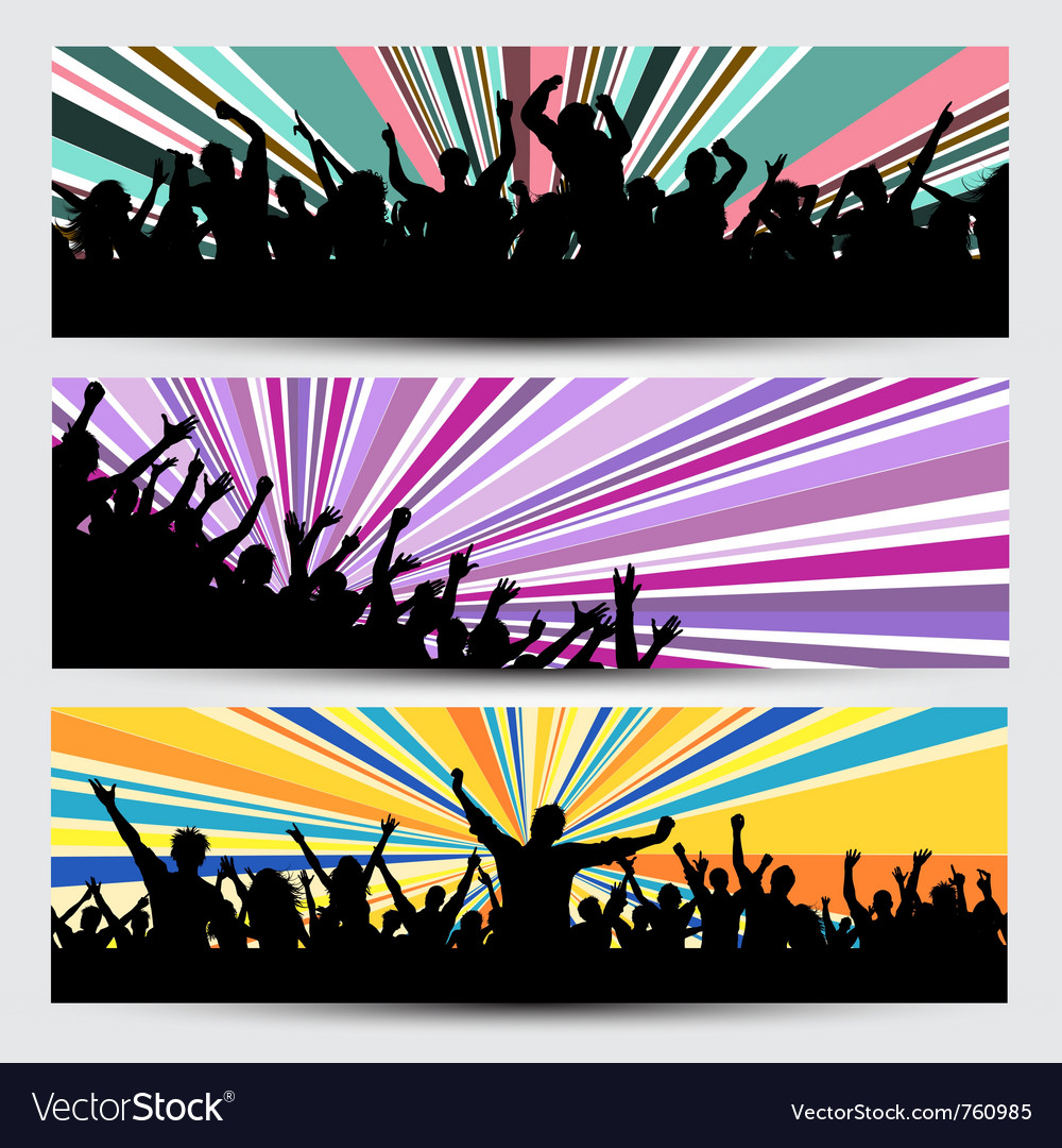 Party crowd banner designs vector | Price: 1 Credit (USD $1)