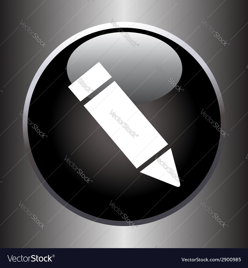 Pencil icon on black button vector | Price: 1 Credit (USD $1)