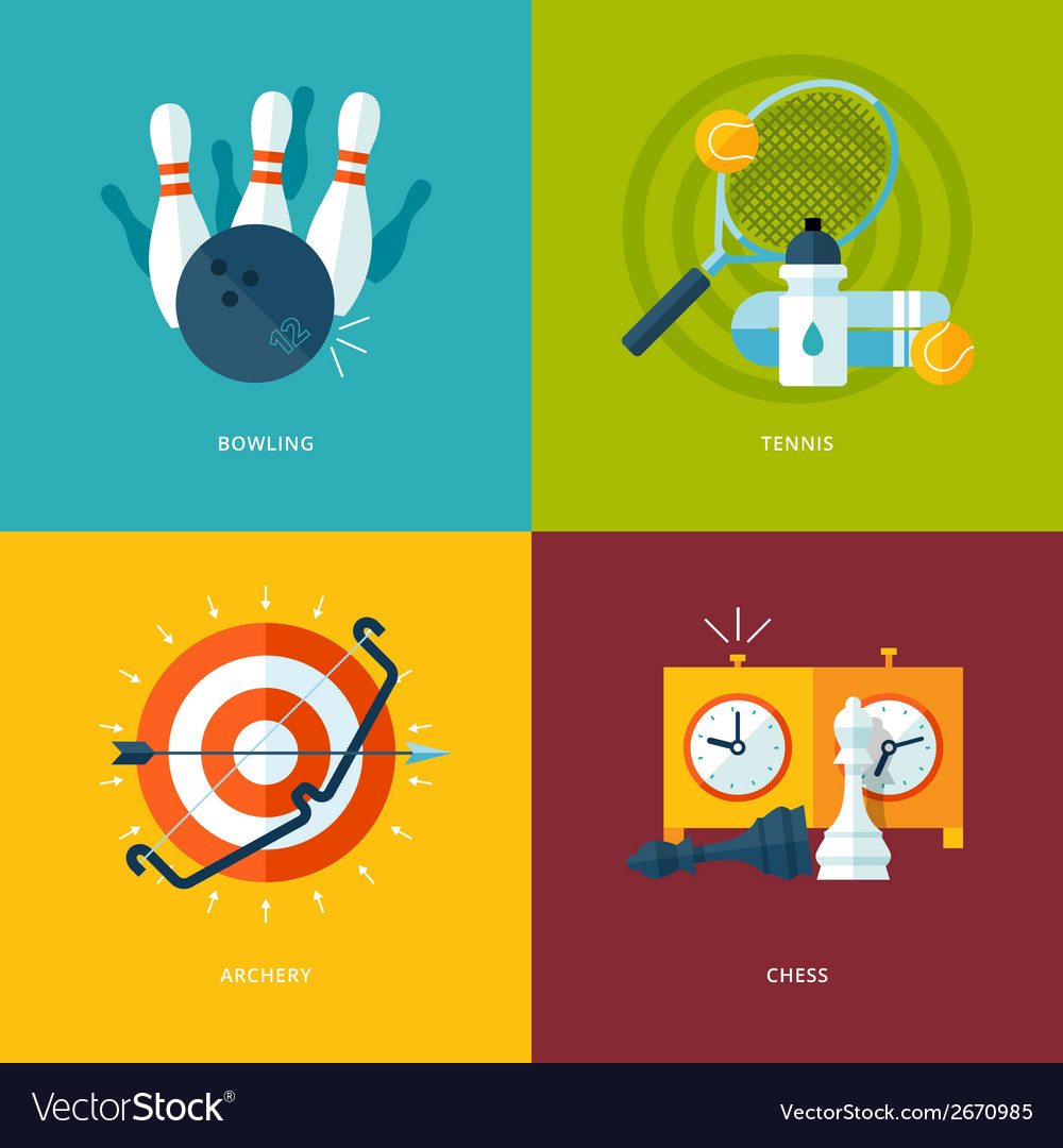 Set of flat design concept icons for sports kinds vector | Price: 1 Credit (USD $1)